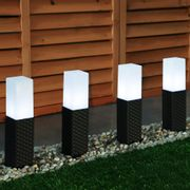 Rattan Effect Solar Stake Lights - 4 Pack