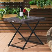 Outsunny Folding Square Rattan Coffee Table Bistro Balcony Garden