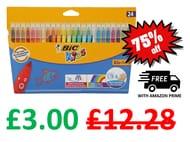 24 BIC Kids Couleur Felt Tip Colouring Pens - Ultra Washable