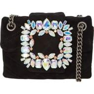 KURT GEIGER Black Quilted Velvet Bag