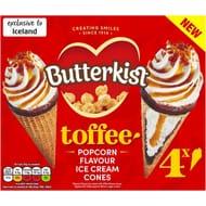 Butterkist 4 Butterkist Toffee and Popcorn Flavour Ice Cream Cones