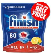 AMAZON BEST SELLER - 80 Finish All-in-One Max LEMON Dishwasher Tablets