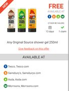 Any Original Source 250ml Shower Gel FREE after Cashback at Selected Retailers