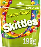 Skittles Crazy Sours Sweets Family Size Pouch Bag, 196 G
