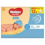12 Packs X56 Wipes Huggies Pure Baby Wipes Fragrance Free