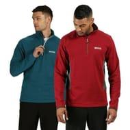 Regatta Mens Highton Half Zip Overhead Fleece Top Red / Green