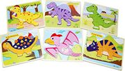 6 Pack Arkmiido Wooden Dinosaur Puzzle