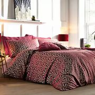 Fountain Deco Wine Jacquard Duvet Cover & Standard Pillowcase Set