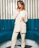 Patricia Bright Soft Knit Boyfriend Blazer in Cream