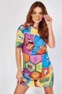 Comic Book Print T-Shirt Dress