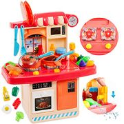 Toy Kitchen Set with Light, Tap, Sound & Play Food