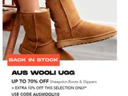 Extra 10% off Selected AUS WOOLI UGG