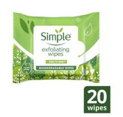 Simple Kind to Skin Exfoliating Biodegradable Wipes 20pc