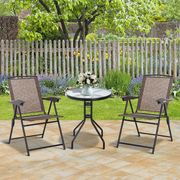 3 Piece Patio Set/2 Texteline Chairs/Tempered Glass Table(Adjustable Backrest)