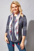 Navy Stripe Print Top with Scarf
