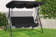3-Seater Garden Swing Chair - Grey & Black