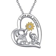 Deal STack! Mother and Child Elephant Necklace Heart Pendant
