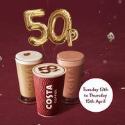 All Hot Drinks for Just 50p Each April 13th-15th (Selected Stores) at Costa
