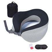 Livelit Travel Pillow Memory Foam Cushion with Carry Case, Eye Mask & Ear Plugs