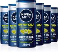 NIVEA Men ENERGY Shower Gel - Pack of 6 X 250ml