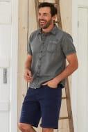 Salen Garment Dyed Twill Shirt Steel Grey save 50%