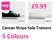 Canvas Trainers £9.99! PINK / BLUE / GREEN / BLACK / WHITE - Selling Fast!