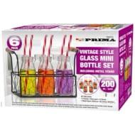 Vintage Style Mini Glass Bottle Set 6 Pack *Comes Complete!