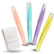 Tweezers Professional for Eyebrows, Terresa 4 Pack Eyebrow Tweezers for Women