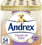 Andrex Toilet Roll - Touch of Care Toilet Paper, 54 Rolls