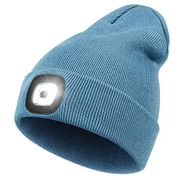 DEAL STACK - Beanie Hat with USB Rechargeable Head Torch, (Blue) + £2 Coupon