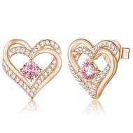 LIGHTNING DEAL - CDE Forever Love Heart 925 Sterling Silver Earrings for Women