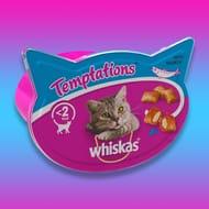 10 X Whiskas Temptations with Salmon Pet Cat Food Treats 90g Tubs