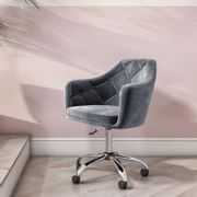 Grey Velvet Office Swivel Chair with Button Back