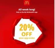 McDonalds - Get 20% Off Your Whole Order Until 20th April!