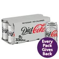 Diet Coke Cans 8 X 330ml