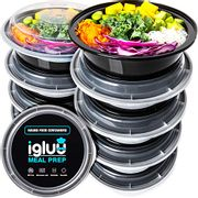 LIGHTNING DEAL - round Plastic Meal Prep Containers