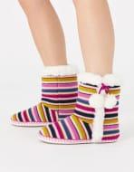 Stripe Knit Slipper Boots Multi