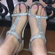 Lemonade Crystal Nugget Sandals Silver