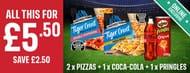 2 Chicago Town Tiger Crust Pizzas + Coca-Cola/Diet Coke + Pringles