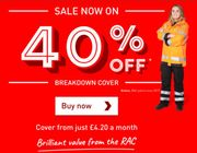 Flash Sale - 40% Off RAC Personal Breakdown Cover - £42 a Year!