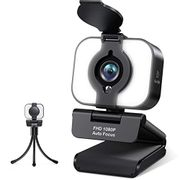Webcam 1080P with Ring Light and Microphone