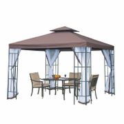 *SAVE £20* Outsunny Two-Tier Gazebo Metal Party Tent Canopy, 3m X3m-Coffee