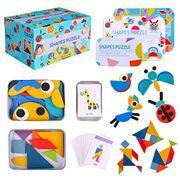 Omew Wooden Pattern Blocks, 2 Pack Wooden Jigsaw Puzzles - Only £7.49!