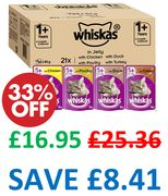 AMAZON #1 BEST SELLER | Whiskas Poultry Selection in Jelly, 84 X 85 G