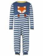 Baby Fox Sleepsuit in Organic Cotton Blue 0-3 Months