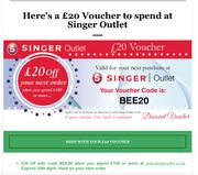 £20 off with Code When You Spend £100 or More singeroutlet.co.uk.
