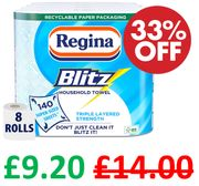 SAVE £4.80 - Regina Blitz Kitchen Towel, 8 Rolls | FREE PRIME DELIVERY