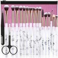 Make up Brushes 16Pcs Premium with Pink Cosmetic Bag Eyebrow Tweezers Scissors