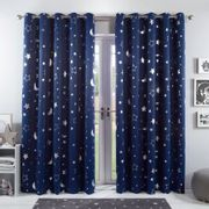 Dreamscene Star Blackout Galaxy Kids Curtains - Navy Blue