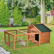 PawHut Wooden Rabbit Hutch Detachable Pet House
